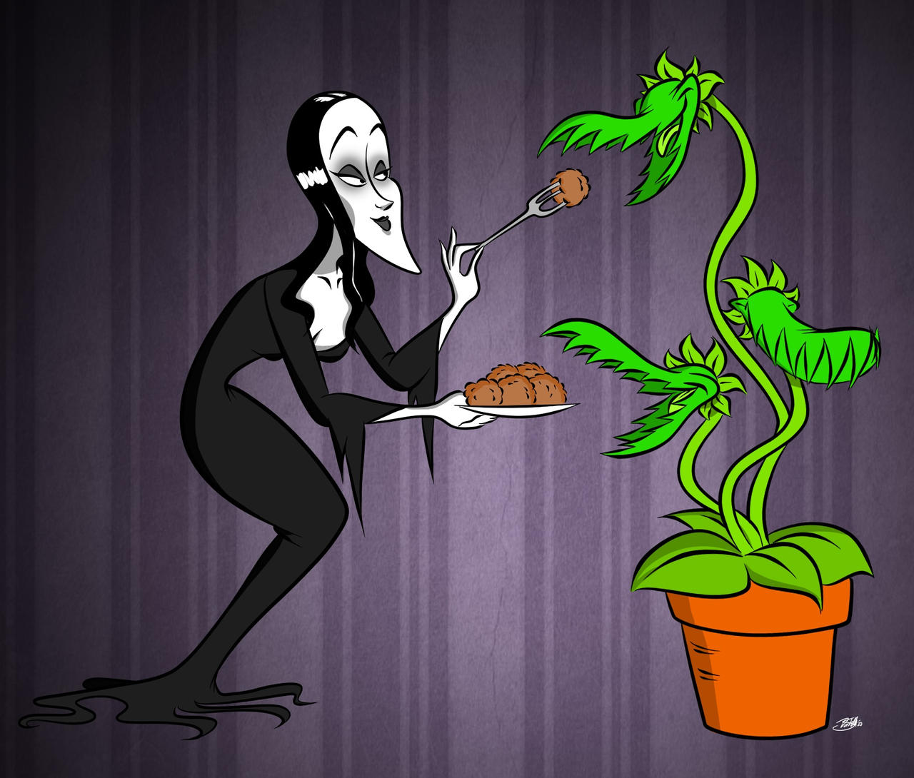 Doodles of the Damned Day 47: Morticia Addams