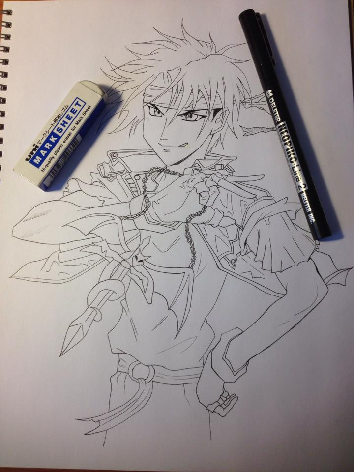Orphen Ink Drawing by blondewolf2