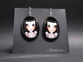 OOAK Earrings With Cute Girls by 1anina