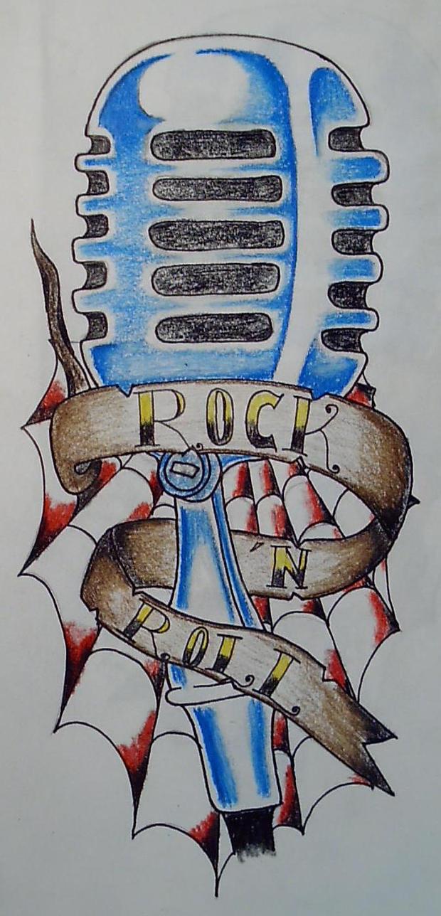 rock n roll - sleeve tattoo