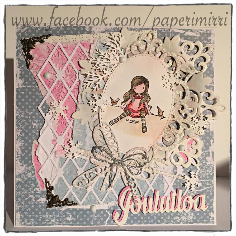 Hand made christmas card ( sentiment in finnish) by absolugirl
