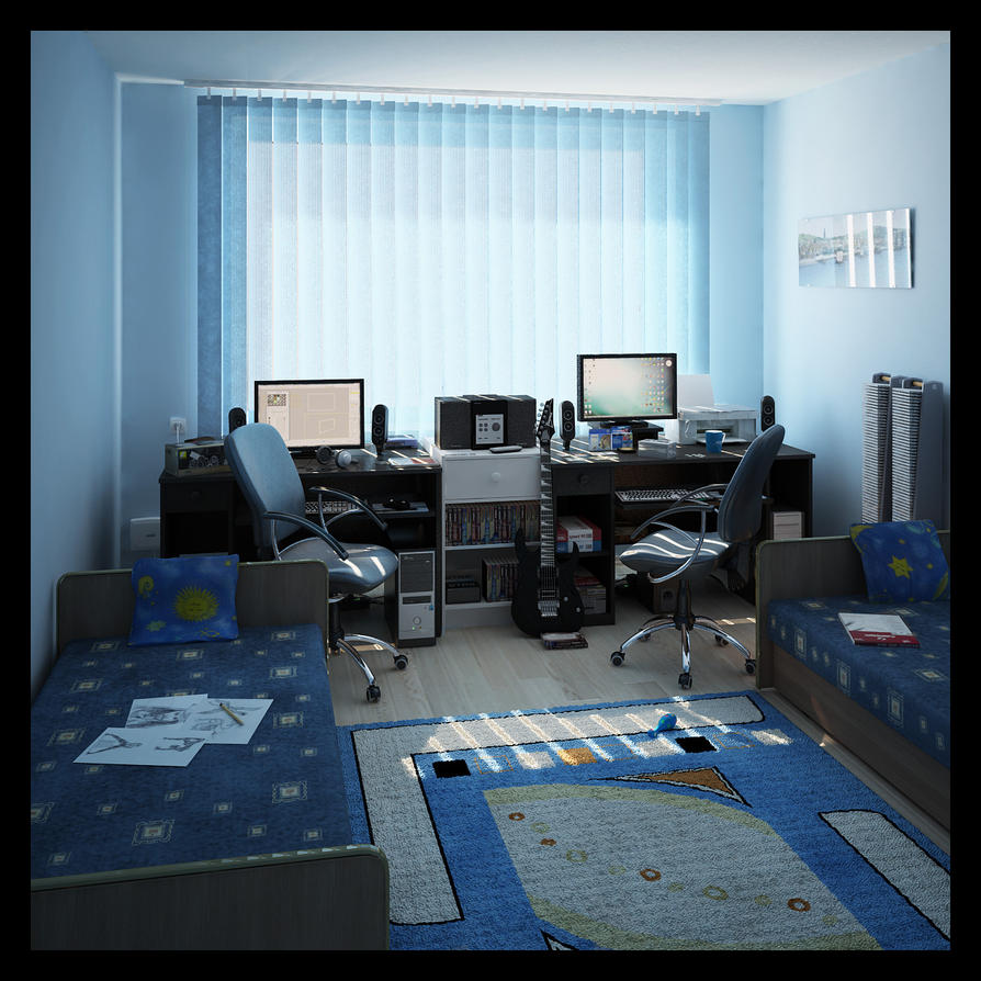 interior 3d my room by araiel on deviantart