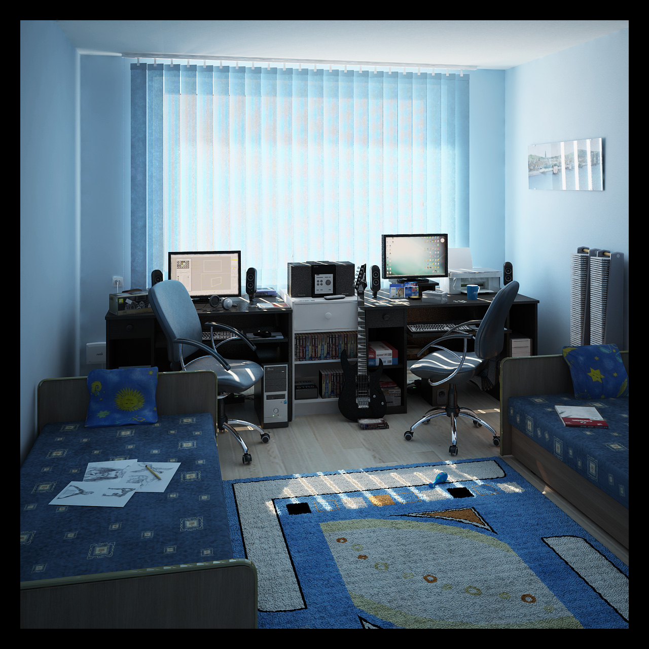 Interior 3d my room by araiel on deviantart 3d room