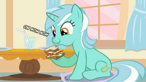 Lyra enjoying her sandwich
