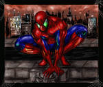 Spiderman Over the City by Robert A. Marzullo