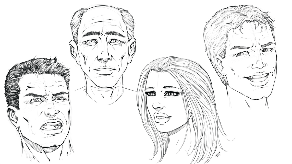 Comic Book Face - Sketches by Robert Marzullo by ramstudios1