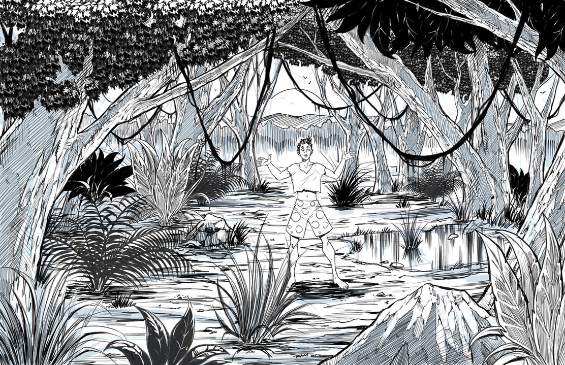 Line Art Jungle : How to draw a jungle landscape by robertmarzullo on deviantart