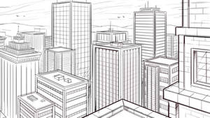 How to Draw a City in Two Point Perspective Sketch