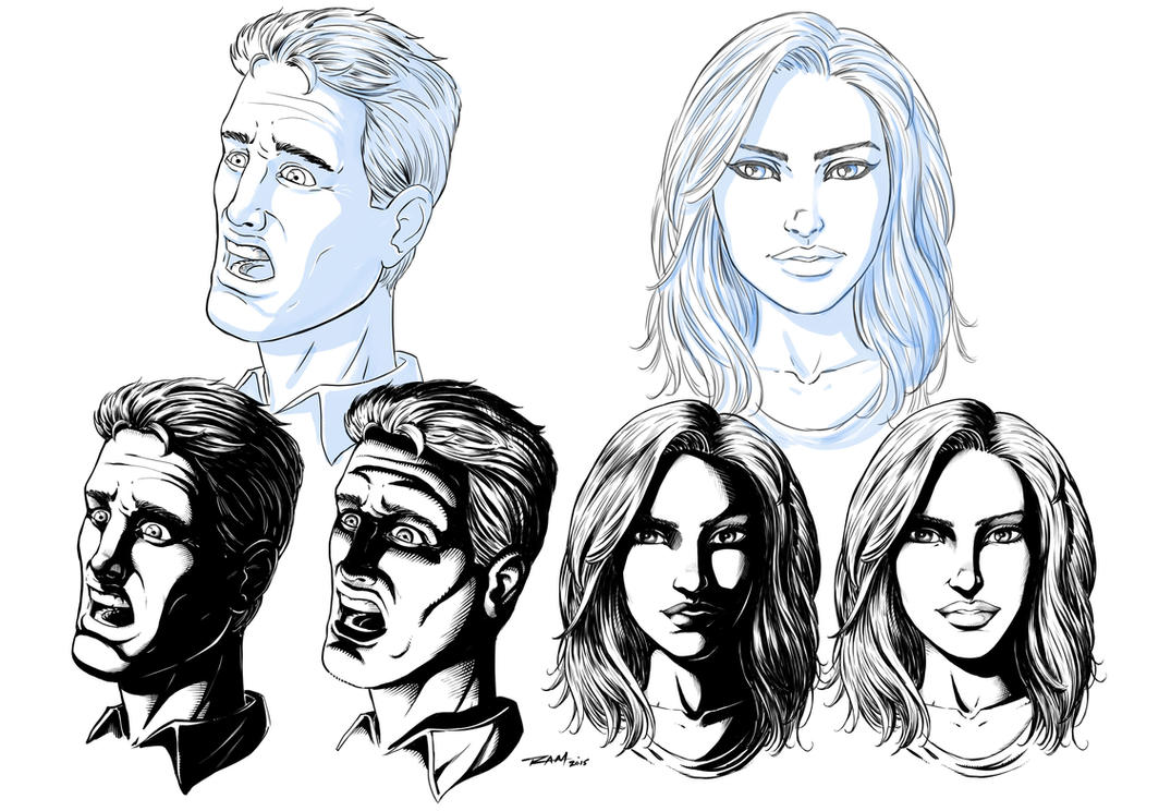 Line Drawing Of Female Face : How to apply shadows comic book faces by robertmarzullo on