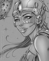Space Girl Drawing by robertmarzullo