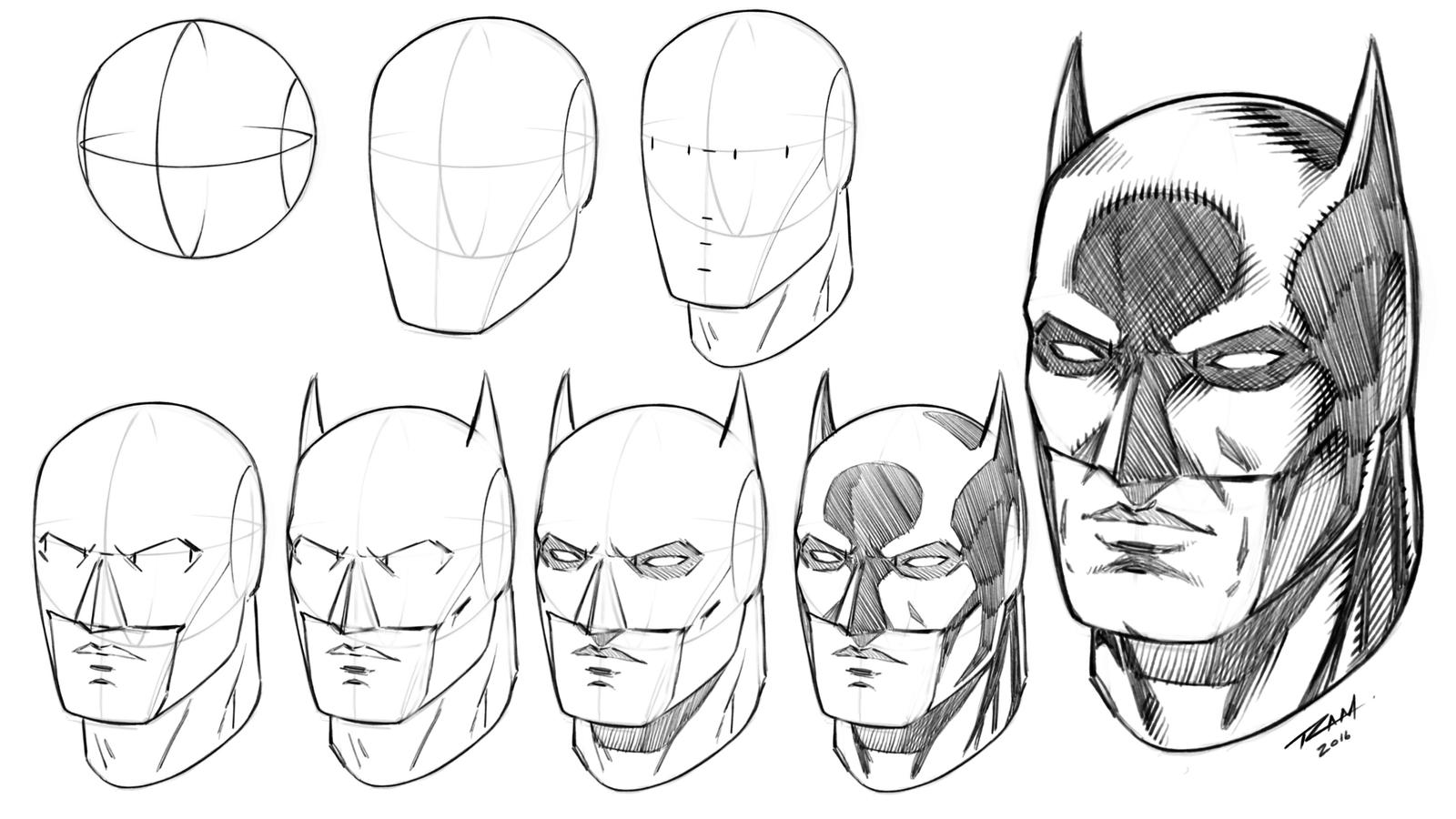 Batman mask how to draw step by step tutorial by for How to make cartoon drawings step by step