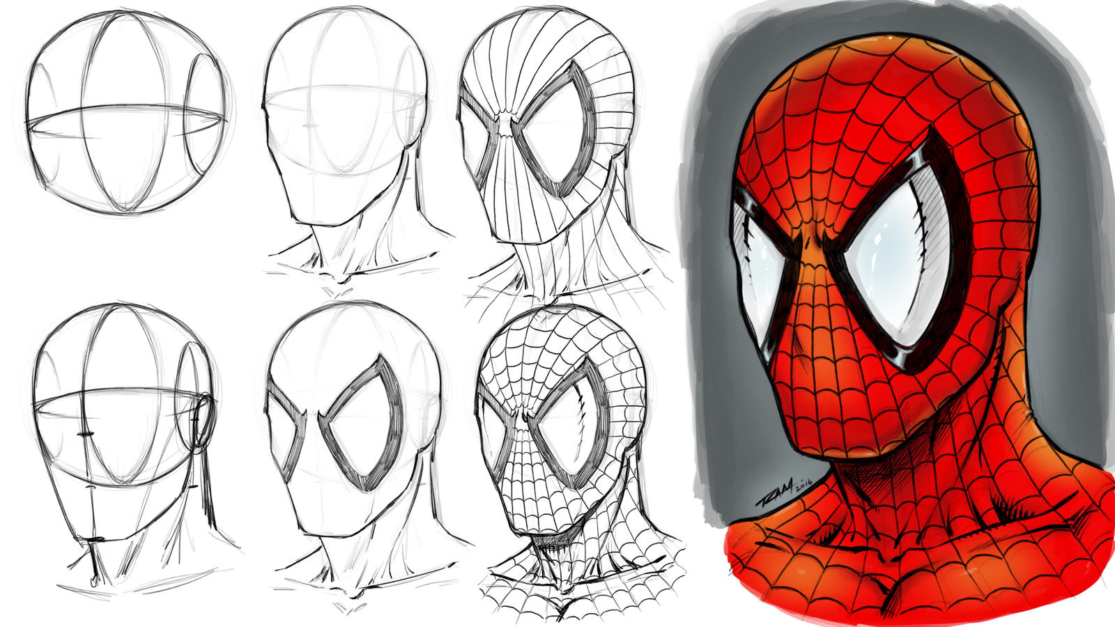 How to Draw Spider-man's Mask Step by Step by ...