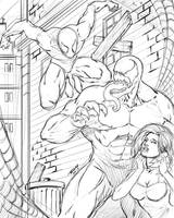 Spider-man and Venom Sketch by robertmarzullo