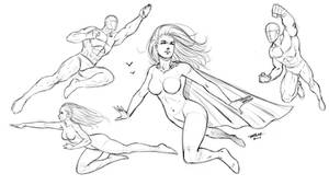Flying Poses Comic Style