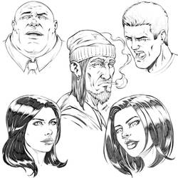 Sketches of Comic Book Style Faces