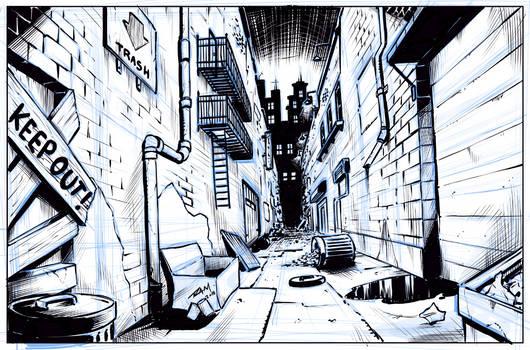 Comic Art Background - Alleyway