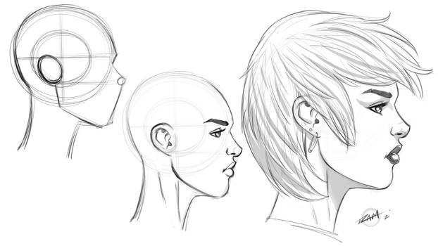 Drawing a Female Face Profile View