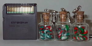 Mint Candy Cane mini bottle Charms