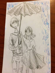 Two edgy children in the rain