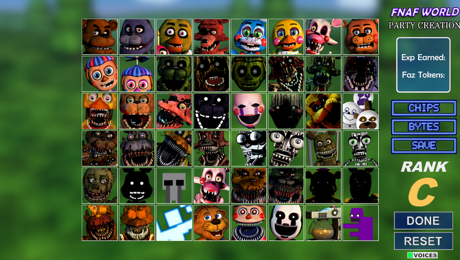 FNaF World Party Creation But Canon Characters by AntonioRodriguez1000