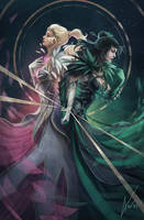 Tyrian Tarot - Guild Wars 2: The Lovers by anez-erynlis