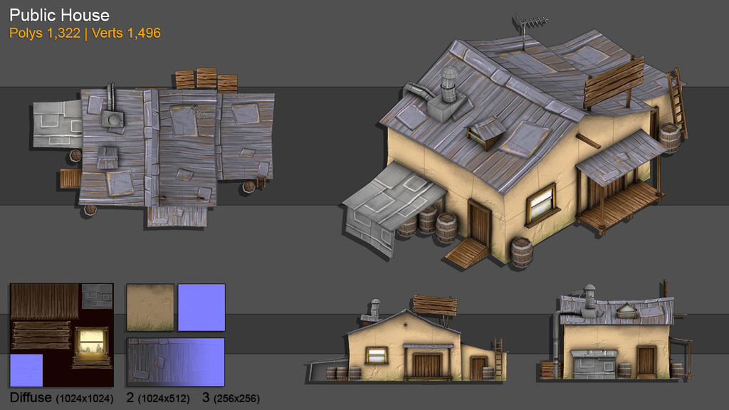 3d model public house by bochicoine on deviantart