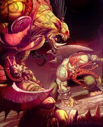 Orc vs Dwarf by el-grimlock