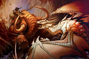 Mammoth vs Dragon by el-grimlock