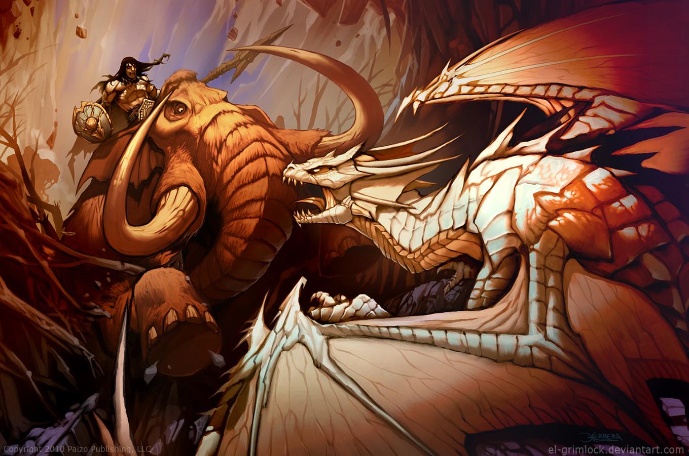 Galeria de Arte: Ficção & Fantasia 1 - Página 2 Mammoth_vs_dragon_by_el_grimlock-d30efb5