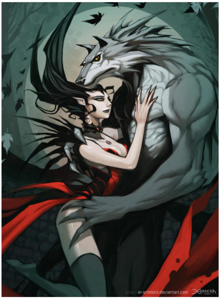 Werewolf girl and vampire boy love