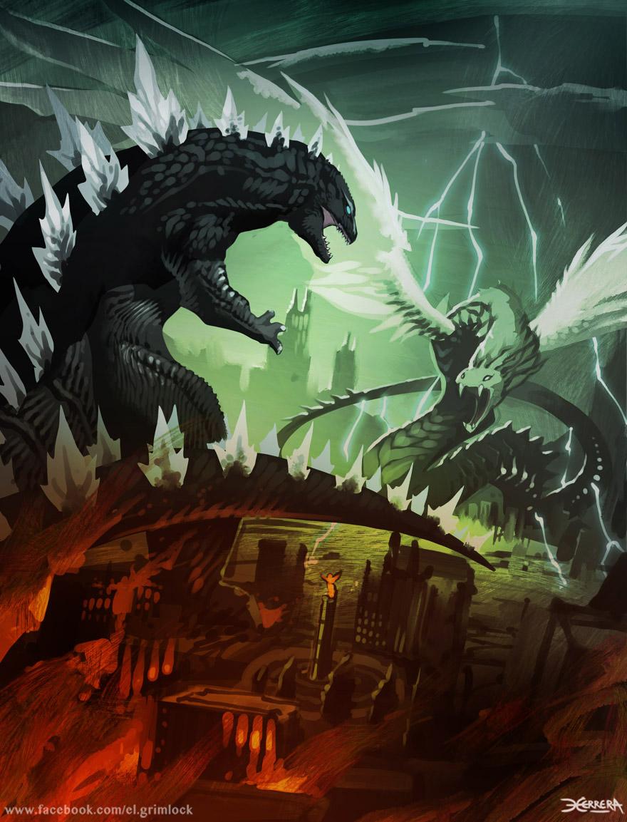 Godzilla vs Quetzalcoatl by el-grimlock