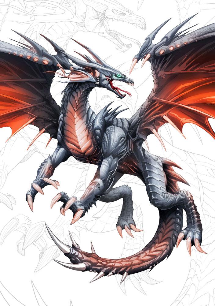 Dragon negro de alas rojas  y. by el-grimlock