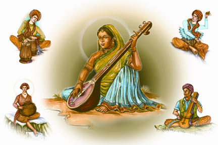 Traditional Indian Musicians by worldofcreativeart