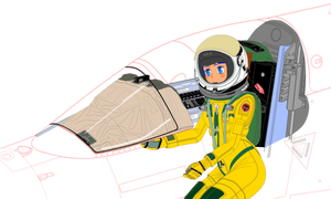 Canopy frame cut Aurora Stering pressure suit