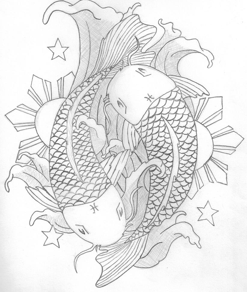 Printable Coy Fish Stress Relief Coloring Pages