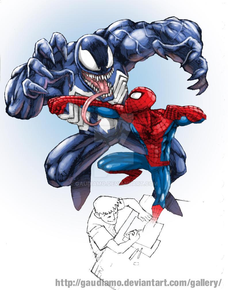 Spidey vs Venom by gaudiamo