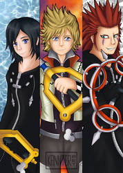 Kingdom Hearts: Xion, Roxas and Axel by kannter