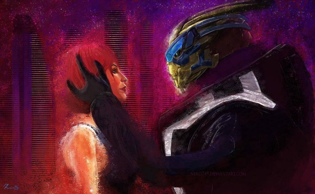 Shepard and Vakarian (on Illium, maybe) by Nero749