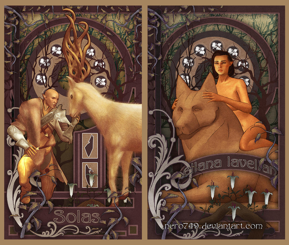 Dragon Age: Solas and Lavellan Romance Cards by Nero749