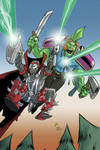 Spawn and Savage Dragon on the cover of Prophet #2 by nandop