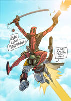 Deadpool teams up with Boba Fett by nandop