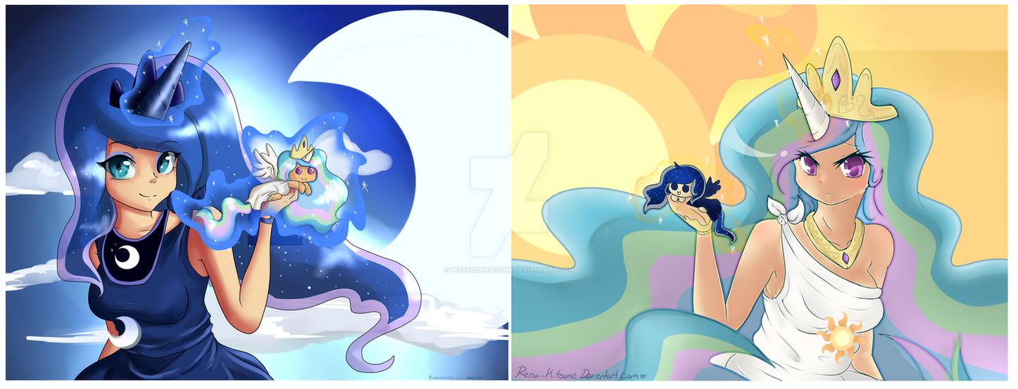 Princess Celestia And Luna By MissRenaKitsune On DeviantArt