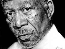Morgan freeman portrait by romonimo
