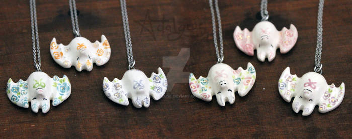 Polite Floral Bats with Bowties - Necklace