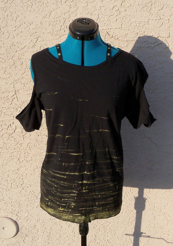 Hatatose Collection - Gold/Black Visual Kei Top by DarkFireRaven