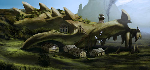 Dragon skull monastery by Drombyb