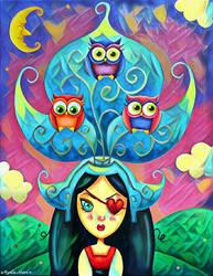 Colette et la coiffe hibouesque by Myria-Moon by Myria-Moon