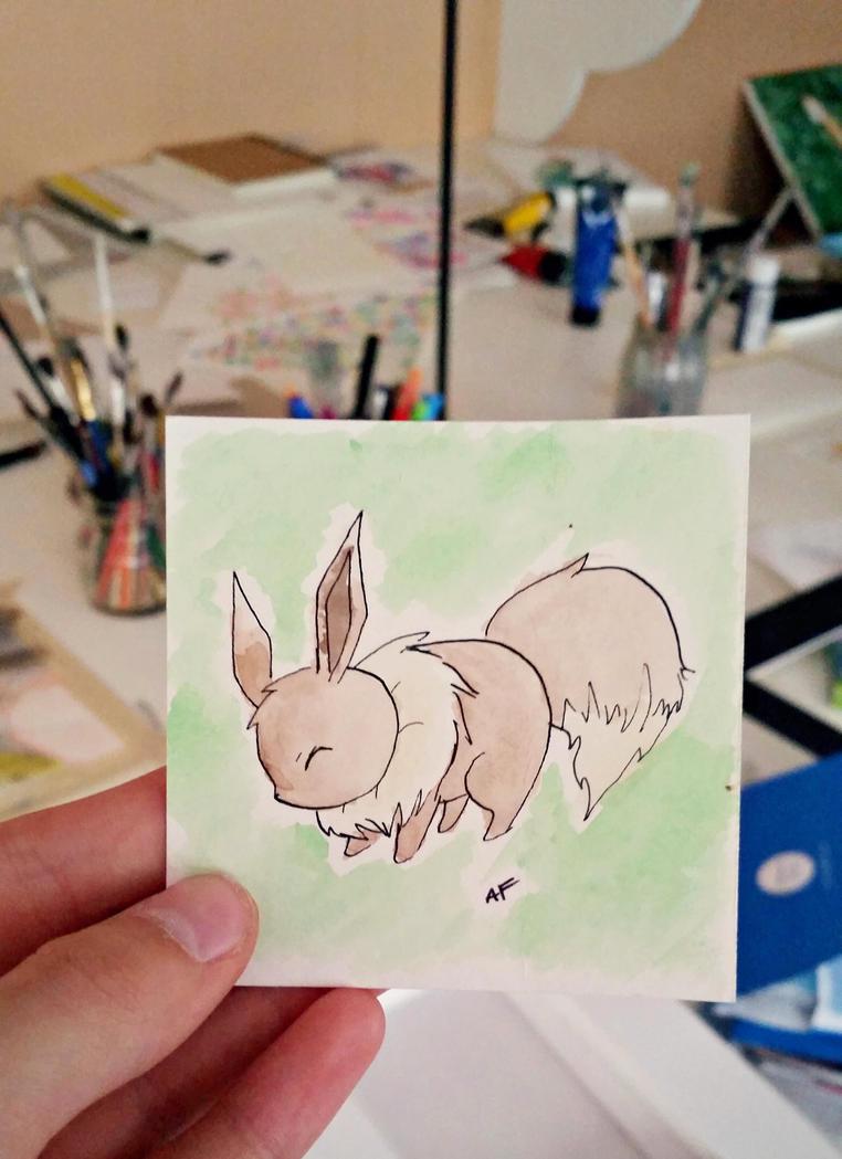 Little Eevee: Watercolor #133 by AddyinWonderland