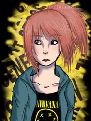 Pink Hair, Black Shirt, Red eyes. by MikuDraws