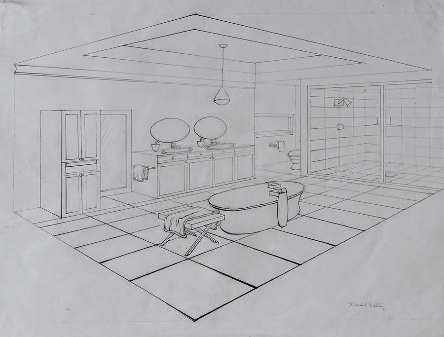 Master Bathroom Perspective Drawing By Rachwill13 On